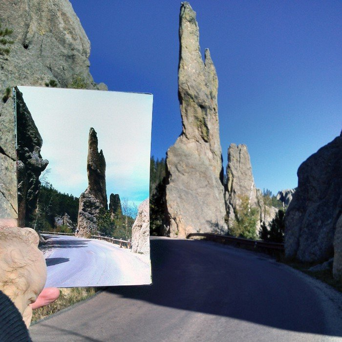 Needles Highway in Custer State Park | 1973 & 2013 Quelle: pastpresentproject.com/