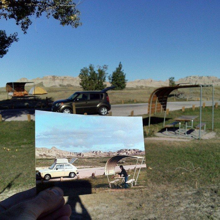 Cedar Pass Campground in Badlands National Park | Mai 1981 & Oktober 2013 Quelle: pastpresentproject.com/