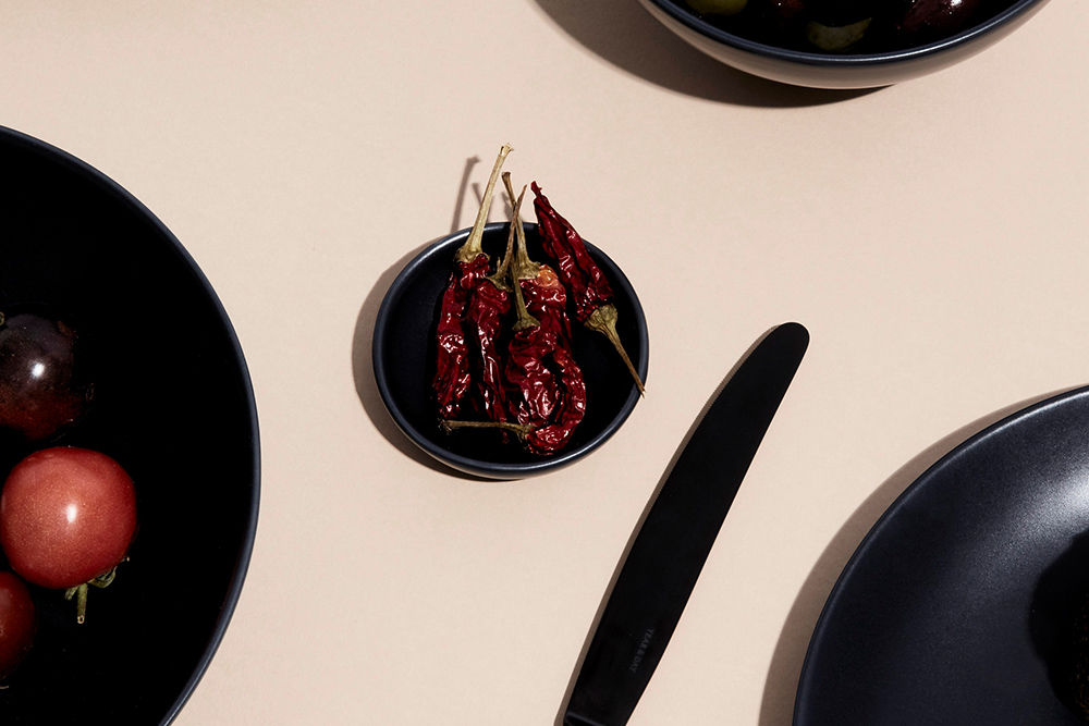 Dried Chili on a Midnight Sample Dish