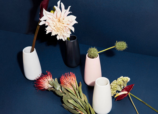 Collection of White and Navy Blue Bud Vases