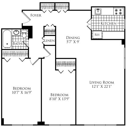 2 Beds, 1 Bath apartment in Cambridge for $2,480