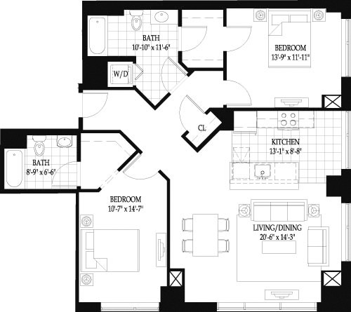 2 Beds, 2 Baths apartment in Boston, West End for $5,025
