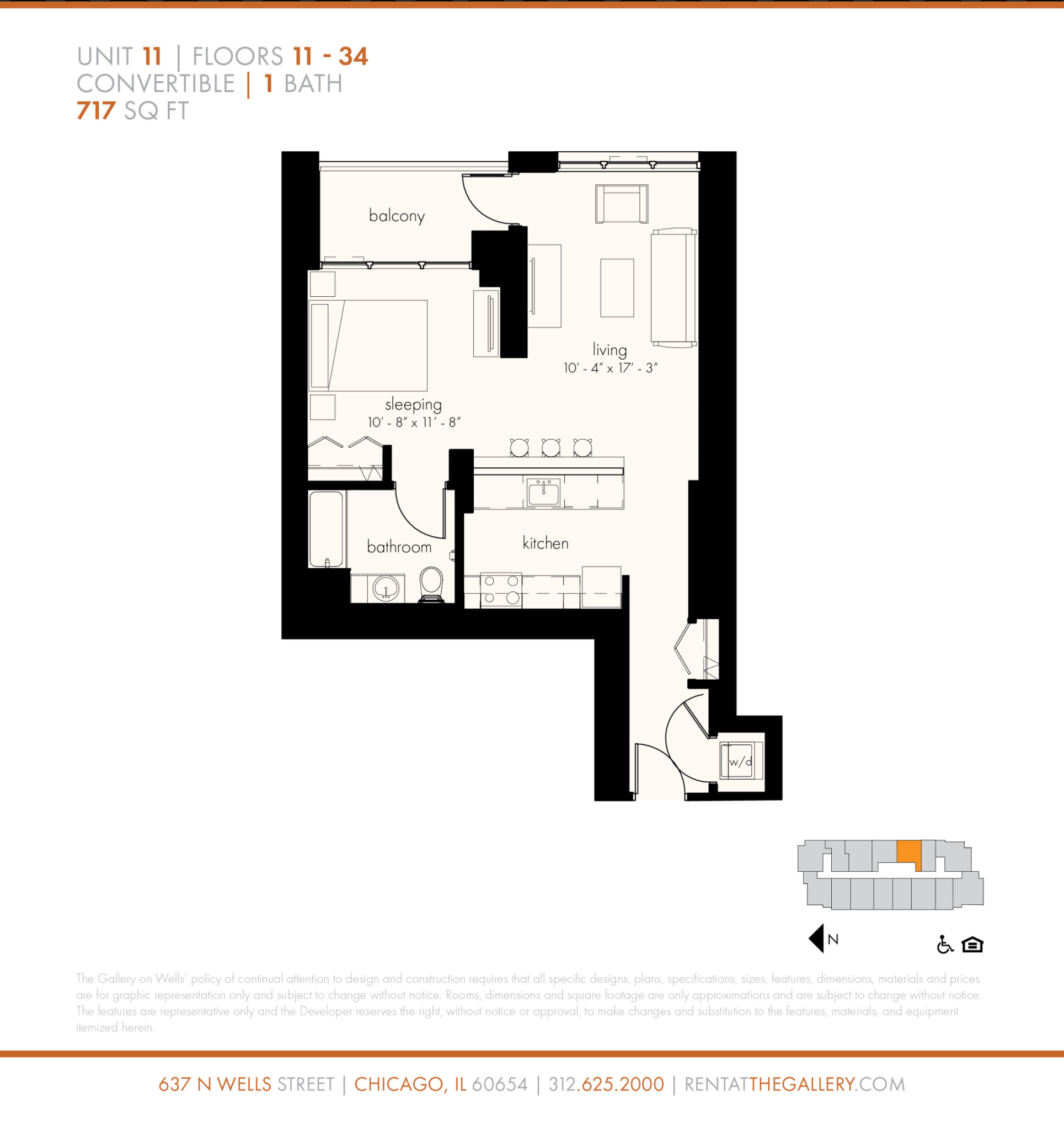 637 North Wells St., Chicago, IL - 2,654 USD/ month