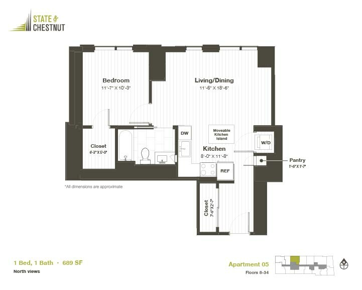 845 North State St., Chicago, IL - 2,575 USD/ month