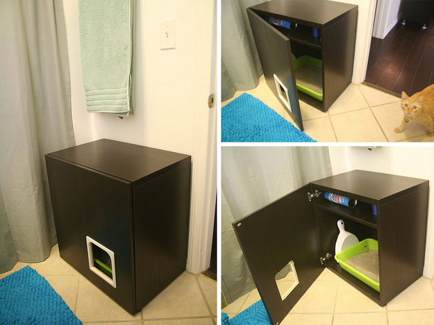 Diy solutions to hide a litter box yummypets - Meuble litiere pour chat ...