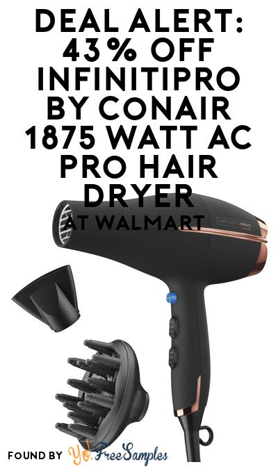 DEAL ALERT: 43% OFF InfinitiPRO by Conair 1875 Watt AC Pro Hair Dryer At Walmart