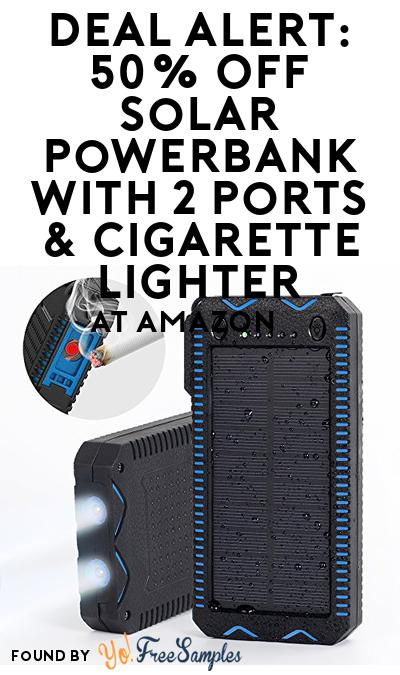 DEAL ALERT: 50% OFF Solar Powerbank With 2 Ports & Cigarette Lighter At Amazon
