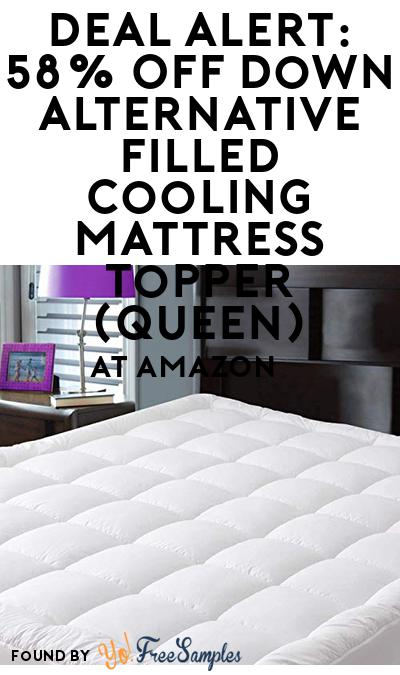 DEAL ALERT: 58% OFF Down Alternative Filled Cooling Mattress Topper (Queen) At Amazon