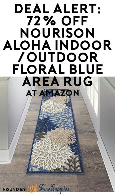 DEAL ALERT: 72% OFF Nourison Aloha Indoor/Outdoor Floral Blue Area Rug At Amazon