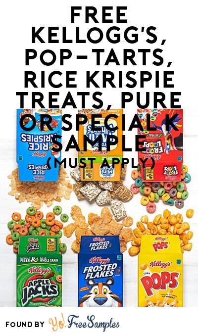 FREE Kellogg's, Pop-Tarts, Rice Krispie Treats, Pure or Special K Sample At BzzAgent (Must Apply)