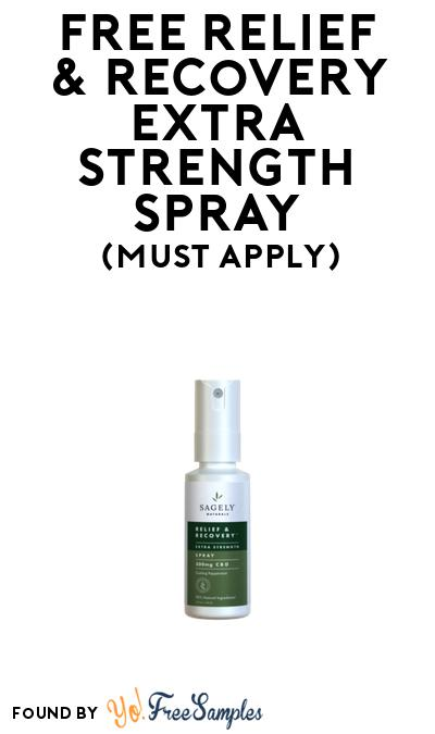 FREE Relief & Recovery Extra Strength Spray At BzzAgent (Must Apply)