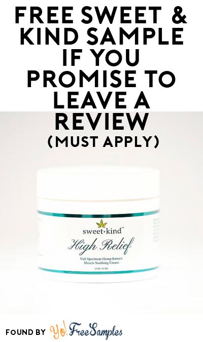 FREE Sweet & Kind High Relief Muscle Soothing Cream At BzzAgent (Must Apply)