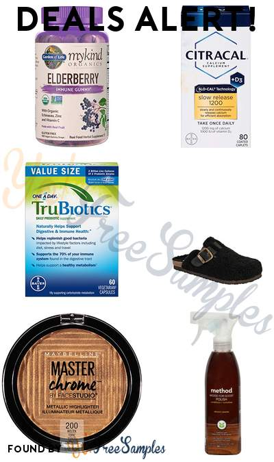 DEALS ALERT: Garden of Life Elderberry Immune Gummy, Citracal with Calcium D, TruBiotics Daily Probiotic, Calistoga Women's Shearling Clog & More