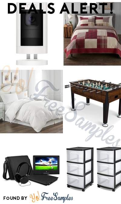 DEALS ALERT: Ring Indoor/Outdoor Security Camera, Cuddl Duds Flannel Patchwork Quilt Set, Hotel Suite White Goose Feather & Down Comforter, EastPoint Sports Newcastle Foosball Table Soccer & More