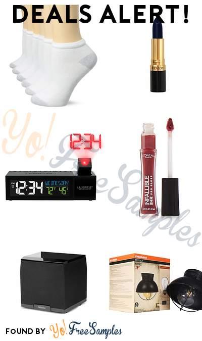 DEALS ALERT: Fruit of the Loom Women's Low Cut Socks, Revlon Midnight Lipstick, Pop-Up Bar Projection Alarm Clock, L'Oréal Pro Gloss & More
