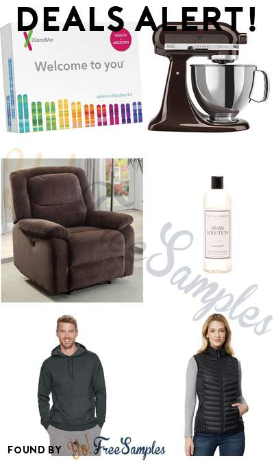 DEALS ALERT: 23andMe Health + Ancestry Kit, KitchenAid 5-Qt. Stand Mixer, Serta Push-Button Power Recliner, The Laundress Stain Solution & More