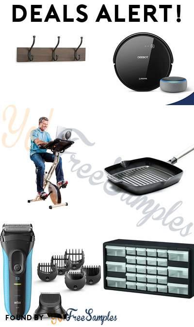 "DEALS ALERT: AmazonBasics Coat Rack, ECOVACS DEEBOT 601 Robotic Vacuum + FREE Echo Dot 3rd Gen, FitDesk Desk Exercise Bike, GreenPan 10"" Grill Pan & More"