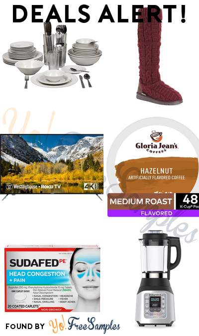 DEALS ALERT: 62-Piece Dinnerware Set, Women's Knit Sweater Boot, Westinghouse 58″ 4K UHD TV with Roku, Gloria Jean's Hazelnut Coffee 48-Pack & More