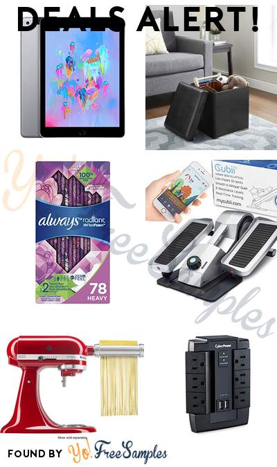 DEALS ALERT: Apple iPad 128GB, Mainstays Storage Ottoman, Always Radiant Feminine Pads, Cubii Pro Seated Under-Desk Elliptical & More