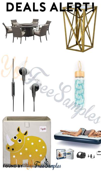 DEALS ALERT: Dining Set With Firepit, Madison Park End Table, Bose SoundSport Headphones, Floral Print Glass Water Bottle With Bamboo Cap & More