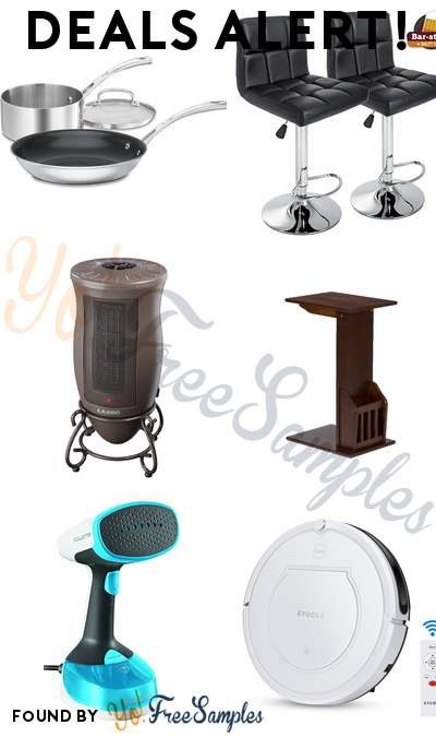 DEALS ALERT: Cuisinart 3-Piece Cookware Set, Leather Swivel Bar Stools, Lasko Ceramic Heater, Magazine Snack Table & More