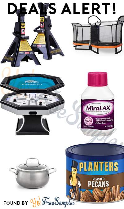 DEALS ALERT: 3 Ton Jack Stand Pair, Bounce Pro Double Trampoline, Air Powered Hockey with Portable Poker Mat, MiraLAX laxative powder & More