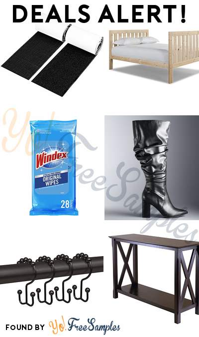 DEALS ALERT: Adhesive Hook + Loop Strips, Lakecrest Full Bed, Windex Flat Pack Wipes (Pack of 3), Simply Vera Vera Wang Flicker Women's High Heel Slouch Boots & More