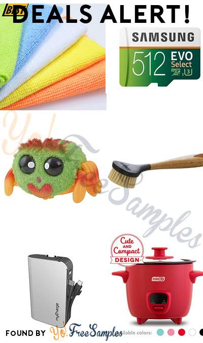 DEALS ALERT: Microfiber Cleaning Cloths 50-Pack, Samsung 512GB MicroSD U3, Yellies! Klutzers Voice-Activated Spider Pet, Lodge 10 Inch Scrub Brush & More