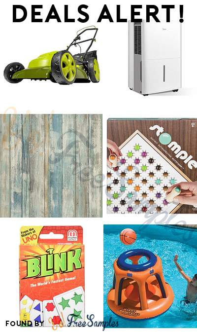 DEALS ALERT: Sun Joe Electric Lawn Mower + Mulcher, MIDEA Dehumidifier, Distressed Wood Peel and Stick Wallpaper, Stomple Game & More