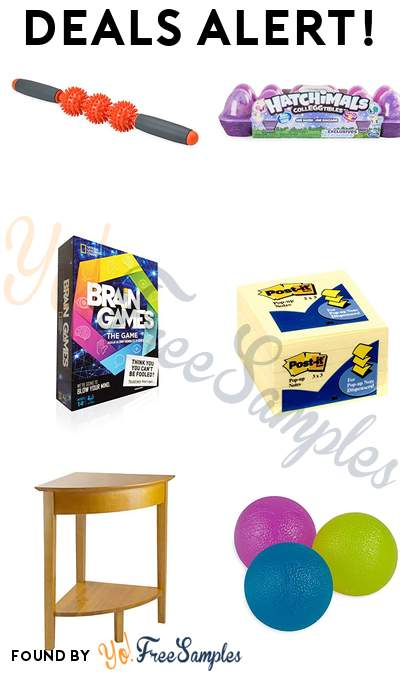 DEALS ALERT: Gaiam Massage Roller, Hatchimals CollEGGtibles 12 Pack Easter Egg Carton, Brain Games The Game, Post-it Notes Pop-up & More
