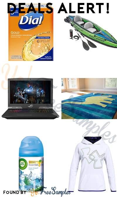 DEALS ALERT: Dial Antibacterial Deodorant Soaps, Intex Challenger K2 Kayak, ROG G703GI Desktop Replacement Gaming Laptop, Dinosaur Kids Area Rug & More