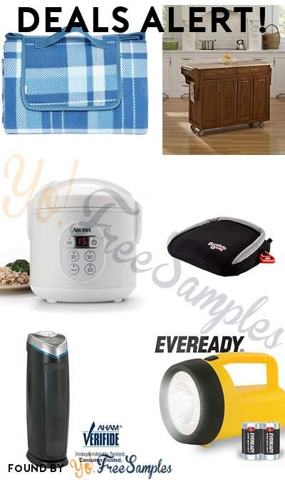DEALS ALERT: Outdoor Picnic Blanket, Create-a-Cart Cottage Oak 4 Door Cabinet, Aroma Housewares 8-Cup Digital Rice Cooker + Food Steamer, BubbleBum Inflatable Backless Booster Car Seat & More