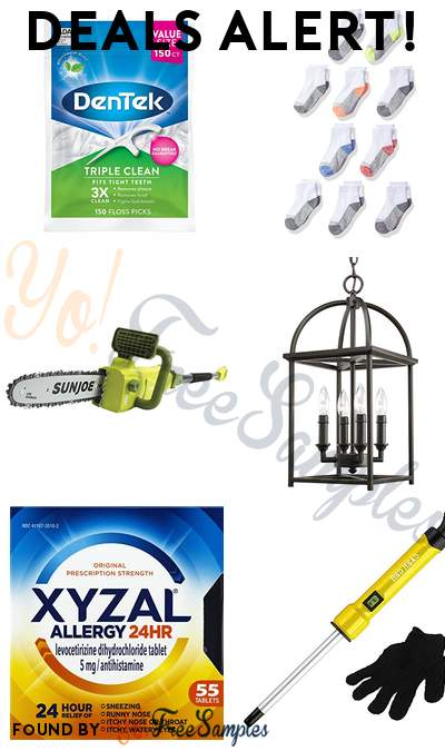 DEALS ALERT: DenTek Triple Clean Floss Picks, Fruit of the Loom Boys Ankle Socks, Sun Joe Pole Chain Saw, Progress Lighting Foyer Lantern & More