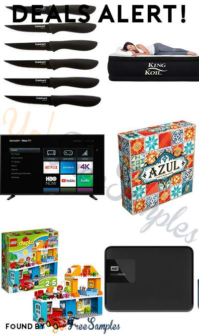DEALS ALERT: Cuisinart 6-Piece Ceramic Coated Steak Knife Set, King Koil Twin Size Luxury Raised Air Mattress, Sharp 58″ Class 4K UHD TV with Roku TV, Plan B Games Azul Board Game & More