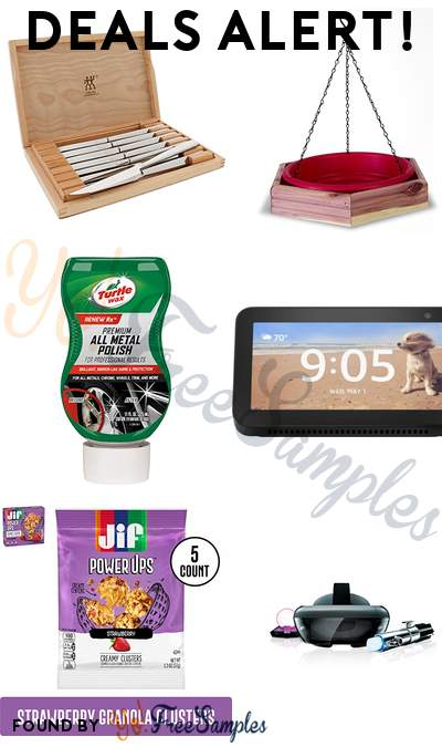 DEALS ALERT: Steak Knife Set, Hanging 2 in 1 Bird Bath & Feeder, Turtle Wax Chrome & Metal Polish, Amazon Echo Show 5 Smart Display & More
