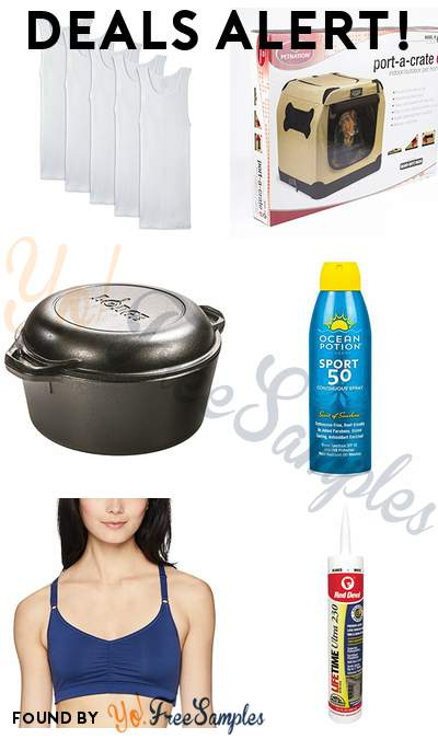 DEALS ALERT: Fruit of the Loom Men's White Shirts, Petnation Indoor + Outdoor Home for Pets, Lodge Cast Iron Dutch Oven, Ocean Potion Spray SPF 50 & More