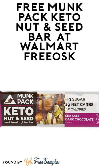 FREE Munk Pack Keto Nut & Seed Bar  At Walmart Freeosk