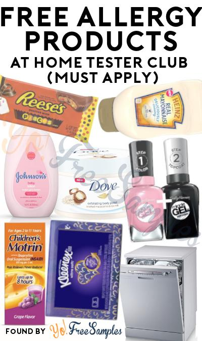 FREE Allergy Products At Home Tester Club (Must Apply)