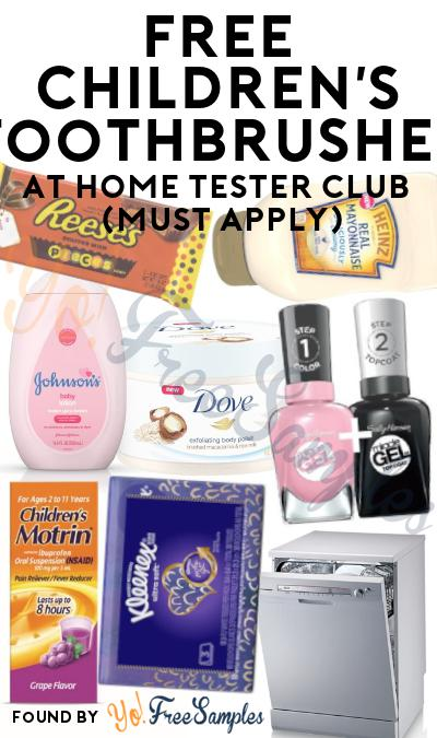 FREE Children's Toothbrushes At Home Tester Club (Must Apply)
