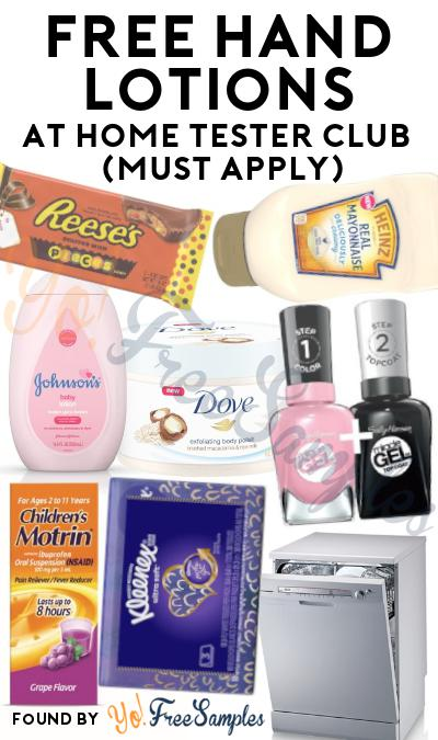 FREE SPF 20 Hand Lotion At Home Tester Club (Must Apply)