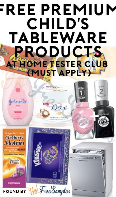 FREE Premium Child's Tableware Products At Home Tester Club (Must Apply)