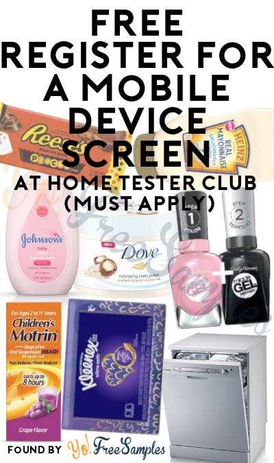 FREE Register For A Mobile Device Screen At Home Tester Club (Must Apply)