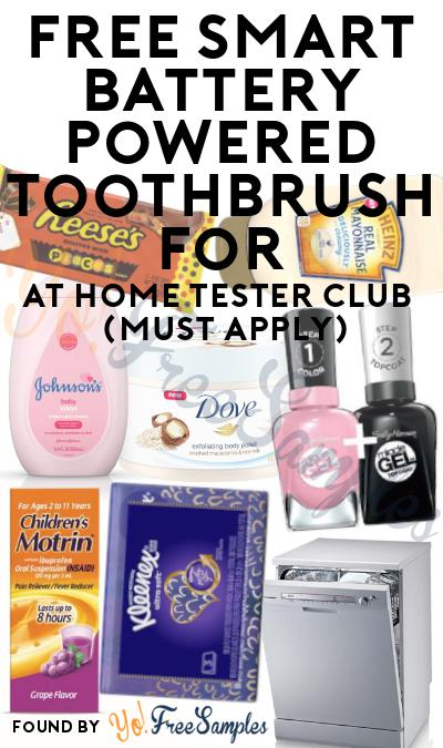 FREE Smart Battery Powered Toothbrush For At Home Tester Club (Must Apply)
