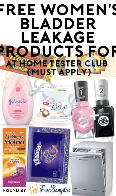 FREE Women's Bladder Leakage Products For At Home Tester Club (Must Apply)