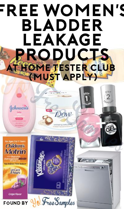 FREE Women's Bladder Leakage Products At Home Tester Club (Must Apply)
