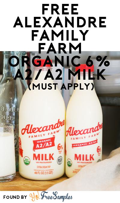 FREE Alexandre Family Farm Organic 6% A2/A2 Milk (Mom Ambassador Membership Required)
