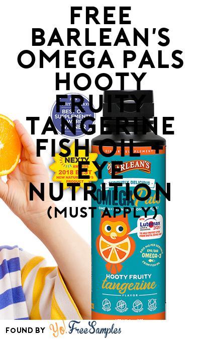 FREE Barlean's Omega Pals Hooty Fruity Tangerine Fish Oil + Eye Nutrition (Mom Ambassador Membership Required)