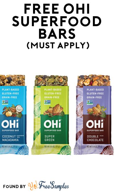 FREE OHi Superfood Bars (Mom Ambassador Membership Required)