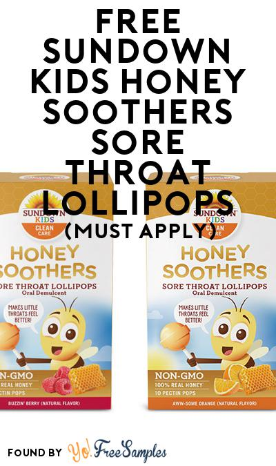 FREE Sundown Kids Honey Soothers Sore Throat Lollipops (Mom Ambassador Membership Required)