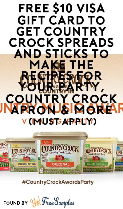 FREE $10 Visa Gift Card To Get Country Crock Spreads And Sticks To Make The Recipes For Your Party, Country Crock Apron & More (Must Apply)